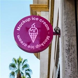 冰淇淋店店招貼圖樣機