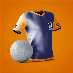 足球旁邊的運動衫貼圖樣機