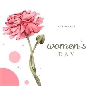 唯美绽放花朵妇女节节日矢量素材
