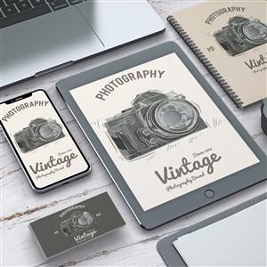 具有攝影概念的專業文具vi貼圖樣機