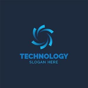 藍色抽象花朵圖標公司logo素材