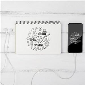 木板上的手機筆記本貼圖樣機
