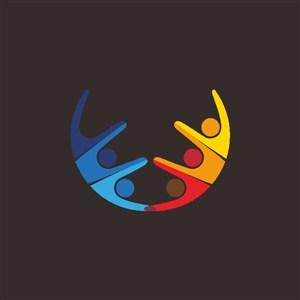 抽象五彩人標志圖標教育機構logo素材