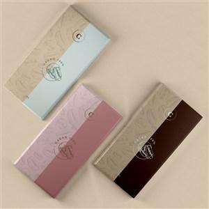 3種口味的巧克力包裝貼圖樣機