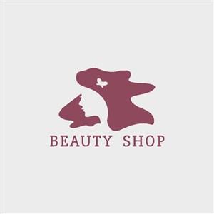 抽象女性圖標美容logo設計素材