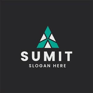 白綠色三角形圖標公司logo設計素材