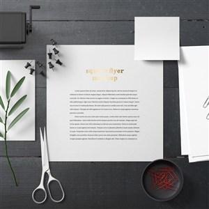 黑色桌面vi宣传单贴图样机