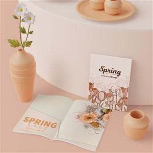 3D花瓶与产品画册宣传单贴图样机