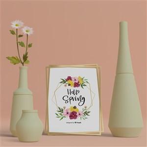 3D花瓶与桌面相框贴图样机