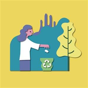 垃圾分類愛護環境矢量設計素材