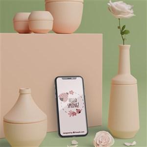 3D花瓶和手機貼圖樣機