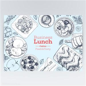 商务美味西餐午餐手绘美食矢量图