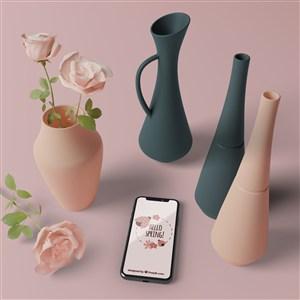3D花瓶與桌面上的手機貼圖樣機
