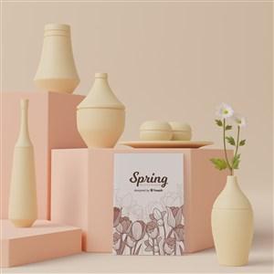 3D花瓶与宣传单贴图样机