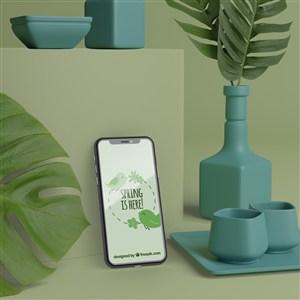 藍色3D花瓶與手機貼圖樣機