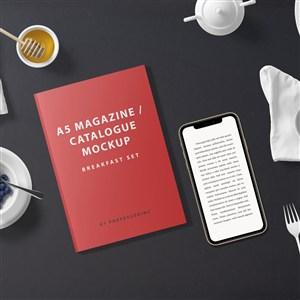 红色产品目录和手机贴图样机