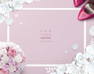浪漫婚礼折纸花朵捧花高跟鞋婚礼psd背景元素