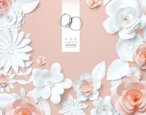 精美折纸花朵戒指婚礼邀请函psd背景素材