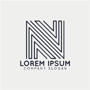 线条组成的N图标公司logo设计素材