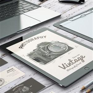 攝影概念名片電腦平板vi貼圖樣機
