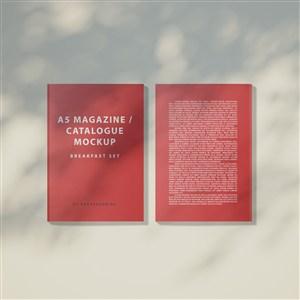 光影效果下的红色产品画册目录贴图样机