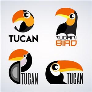 卡通動物巨嘴鳥標志矢量素材