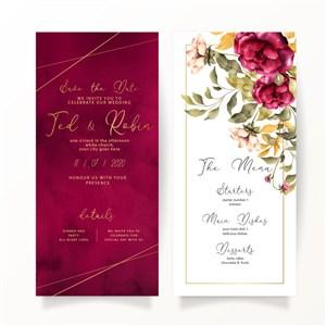 浪漫玫红花朵婚礼邀请函背景矢量素材