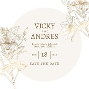 金色线描花朵邀请函背景素材