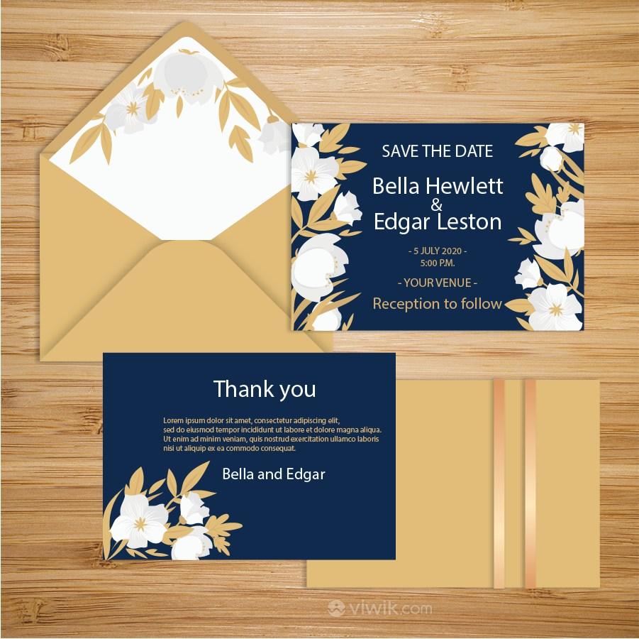 藍色花紋素材背景訂婚聚會請柬請帖邀請函設計模板.eps