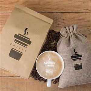 咖啡厅vi牛皮纸包装袋咖啡杯布袋贴图样机