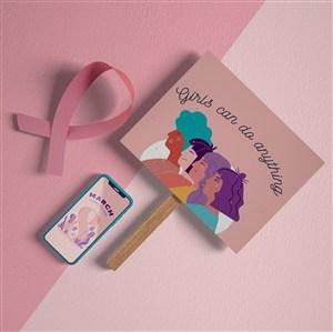 38婦女節手機卡片貼圖樣機