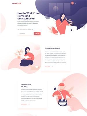 國外扁平插畫企業網站首頁模板