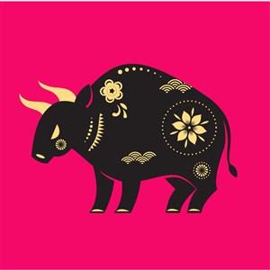 中國風剪紙十二生肖之牛矢量素材