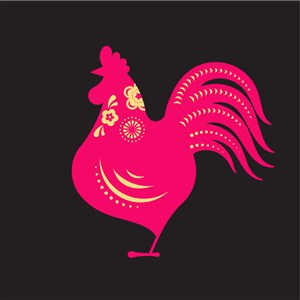 中国风剪纸十二生肖之鸡矢量素材