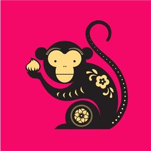 中国风剪纸十二生肖之猴矢量素材