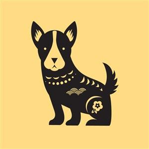 中国风剪纸十二生肖之狗矢量素材