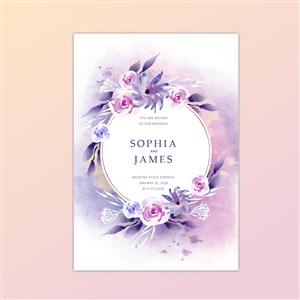 粉紫色水彩花卉婚禮卡片矢量