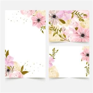粉色水染花卉婚禮卡片矢量模板