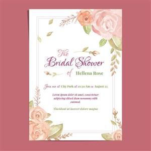 粉色玫瑰花新娘送禮會邀請卡矢量模板