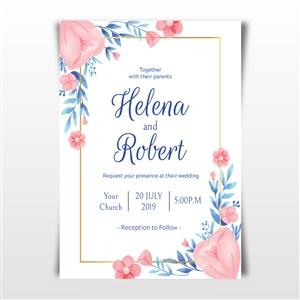 唯美清新粉色花朵邀請函背景底紋素材