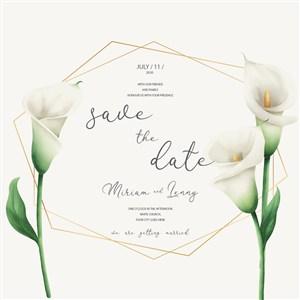 唯美馬蹄蓮花卉婚禮邀請卡背景矢量素材