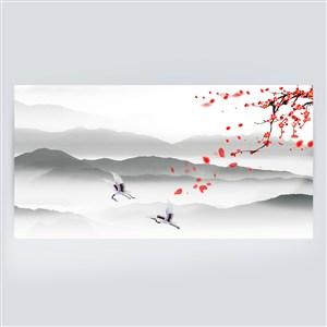 仙鶴紅梅簡約水墨中國風山水畫背景