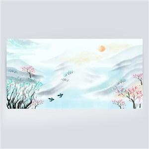 清新淡青色中國風踏青水墨山水畫背景