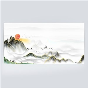 大氣金線描邊新中式山水畫背景素材