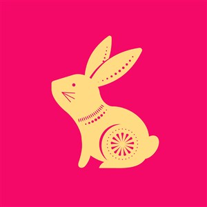 中國風剪紙十二生肖之兔矢量素材