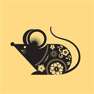 中國風剪紙十二生肖之鼠矢量素材