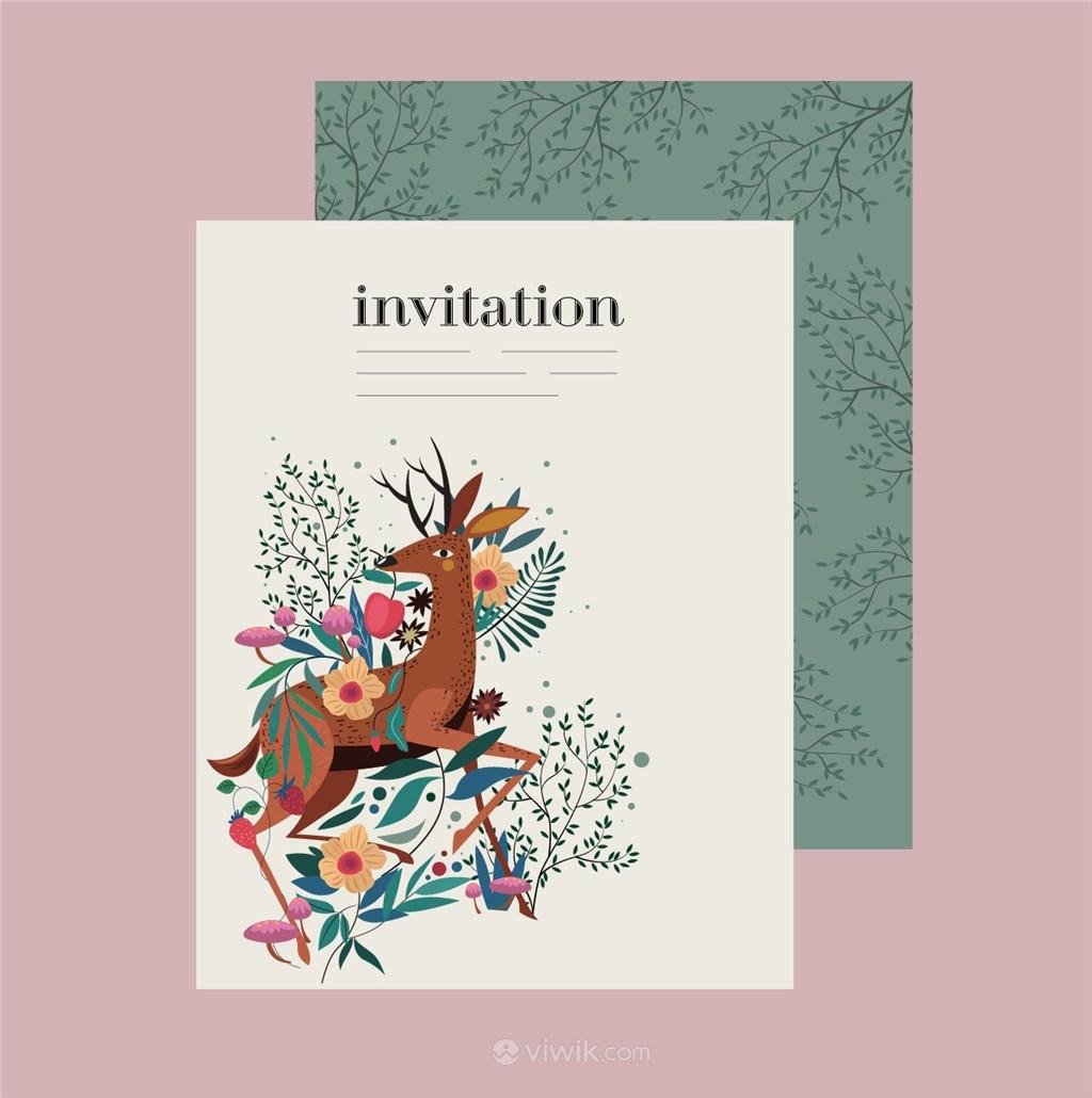 花中彩绘麋鹿邀请卡矢量模板素材