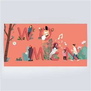 美女插畫婦女節女神節插畫海報素材