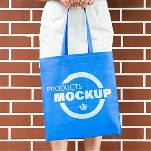手提藍色環保袋購物袋貼圖樣機