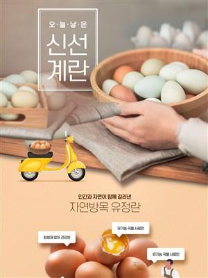 韓國新鮮雞蛋美食打折促銷網頁設計